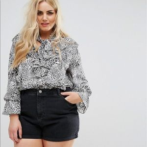 ASOS Alice & You Leopard Ruffle Pussy Bow Top 22